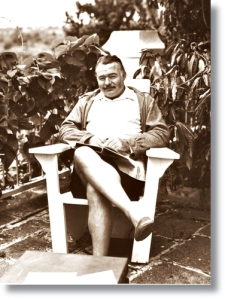 Ernest Hemingway at his Cuban home the Finca Vigia in 1947