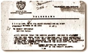 HEMINGWAY TELEGRAMA PREMIO NOBEL heming1